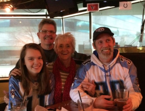 December 2013 - Mom and Jim came to visit and came out to Nottingham's to see the games