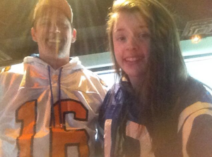 January 2013 - Shelby and I got in our throwback Peyton Manning uniforms (UT Vols and Colts) to cheer him on