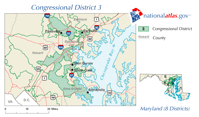 United States House of Representatives, Maryland District 3 map