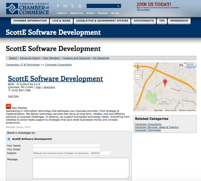 Howard County Chamber - ScottE Software
