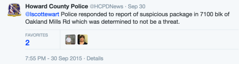 Tweet reply from HCPD